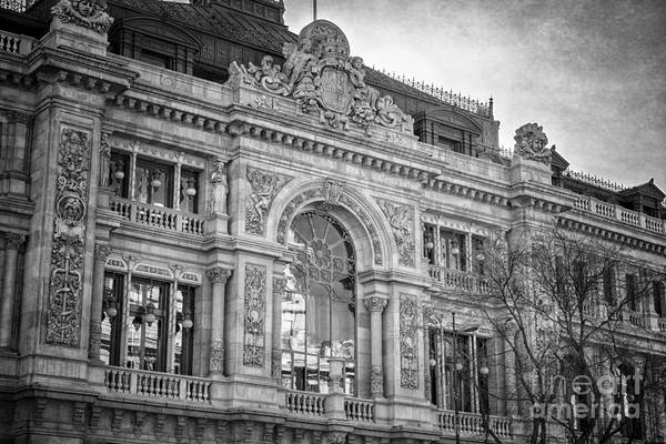 Photograph - Gran Via Architecture Bw by Joan Carroll