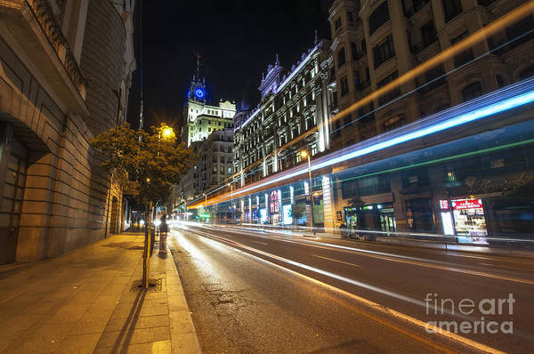 Photograph - Gran Via Light Trails 1.0 by Yhun Suarez