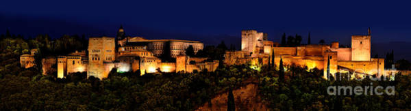 Photograph - Granada - Spain - View Of The The Alhambra At Night by Carlos Alkmin