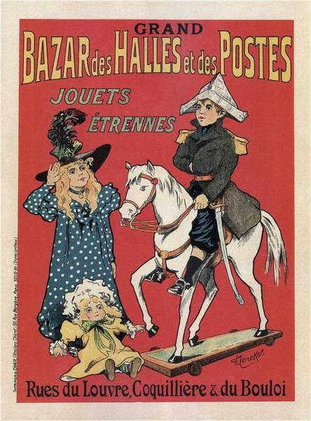 Toy Mixed Media - Grand Bazar Des Halles Et Des Postes - Vintage Advertising Poster by Studio Grafiikka