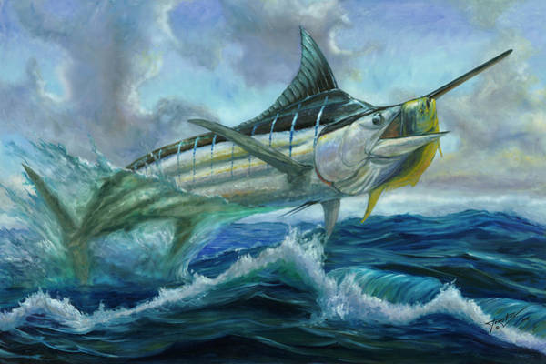 Grand Blue Marlin Jumping Eating Mahi Mahi Art Print