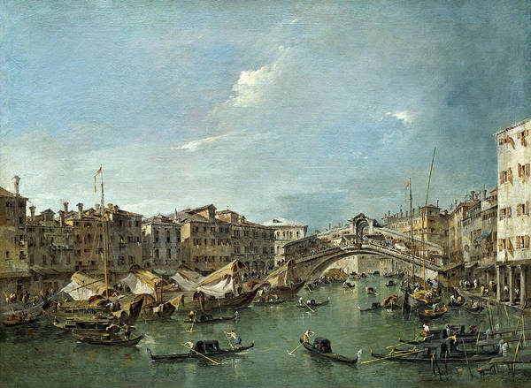 Painting - Grand Canal With The Rialto Bridge by Francesco Guardi
