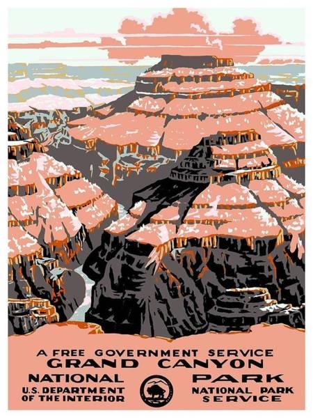 Canyon Mixed Media - Grand Canyon - National Park - Colorado River - Retro Travel Poster - Vintage Poster by Studio Grafiikka