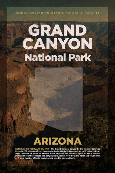 Canyon Mixed Media - Grand Canyon National Park In Arizona Travel Poster Series Of National Parks Number 23 by Design Turnpike