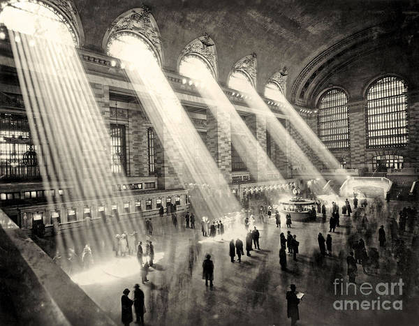 Beam Of Light Photograph - Grand Central Terminal, New York In The Thirties by American School