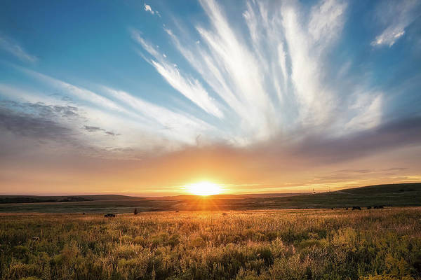 Tallgrass Wall Art - Photograph - Grand Exit - Golden Sunset And Landscape On Tallgrass Prairies Of Oklahoma by Southern Plains Photography