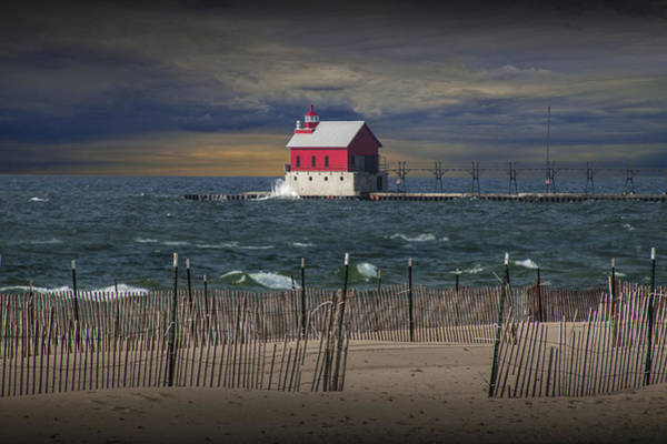 Photograph - Grand Haven Lighthouse At Sunset by Randall Nyhof