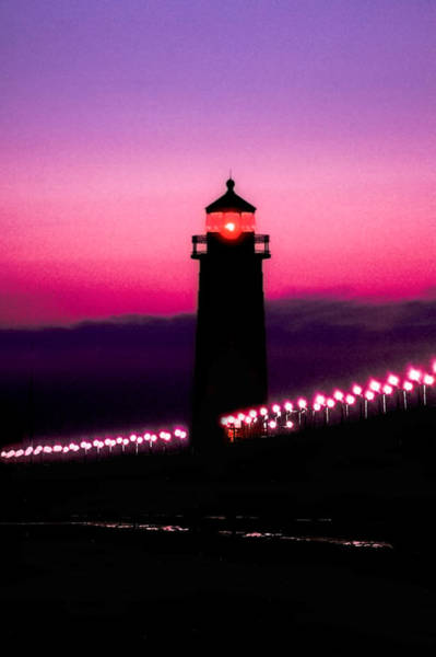 Great Lakes Region Wall Art - Photograph - Grand Haven Lighthouse At Sunset by Art Spectrum