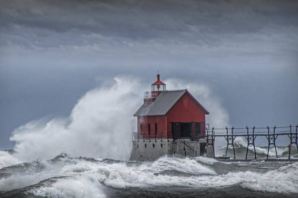 Turmoil Photograph - Grand Haven Lighthouse In A November Storm by Randall Nyhof