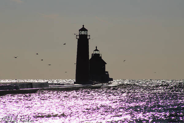Lighthouse Wall Art - Photograph - Grand Haven Lighthouse Sparkle by Michael Rucker