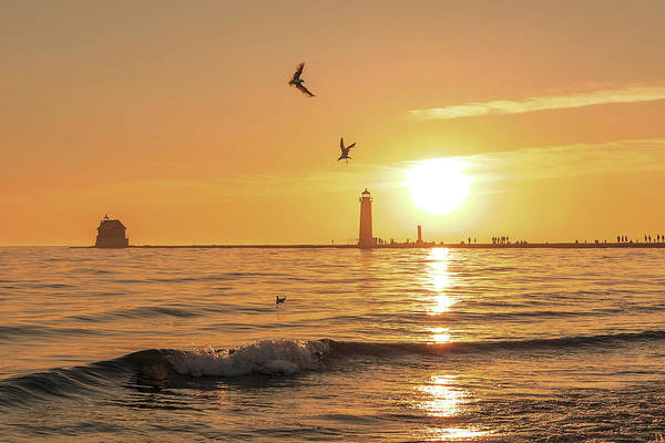 Photograph - Grand Haven Lighthouse Sunset by Dan Sproul