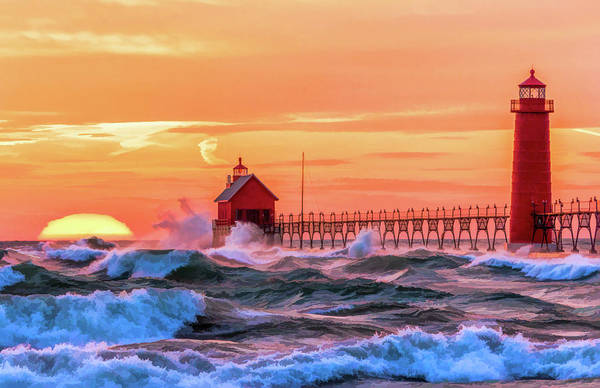 Painting - Grand Haven Lighthouses by Christopher Arndt