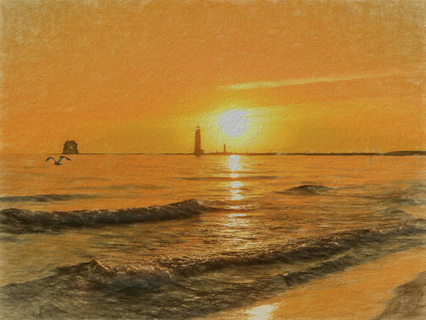 Painting - Grand Haven Michigan Sunset Beach by Dan Sproul