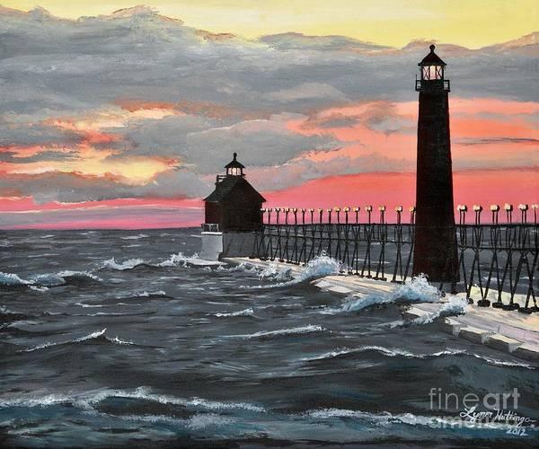 Lynn Wall Art - Painting - Grand Haven Pier Sunset by Lynn Huttinga