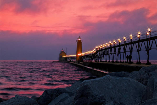 Photograph - Grand Haven Sunset by Susan Rissi Tregoning