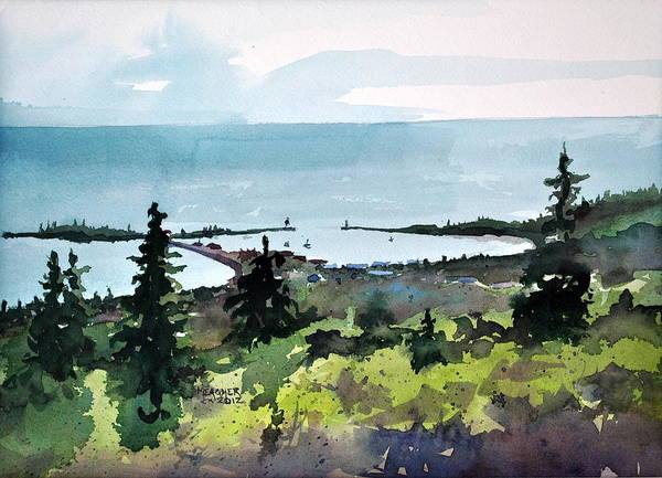 Lake Superior Painting - Grand Marais From Pincushion Mountain by Spencer Meagher
