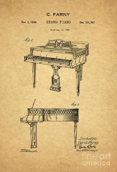 Grand Piano Digital Art - Grand Piano Patent Art 1936 1  by Nishanth Gopinathan