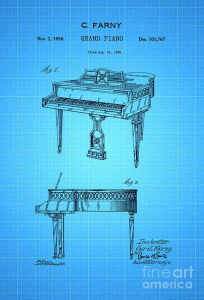Grand Piano Digital Art - Grand Piano Patent Art 1936 2 by Nishanth Gopinathan