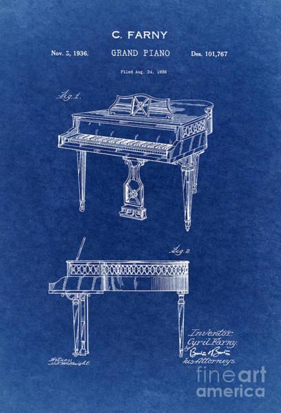Grand Piano Digital Art - Grand Piano Patent Art 1936 3 by Nishanth Gopinathan