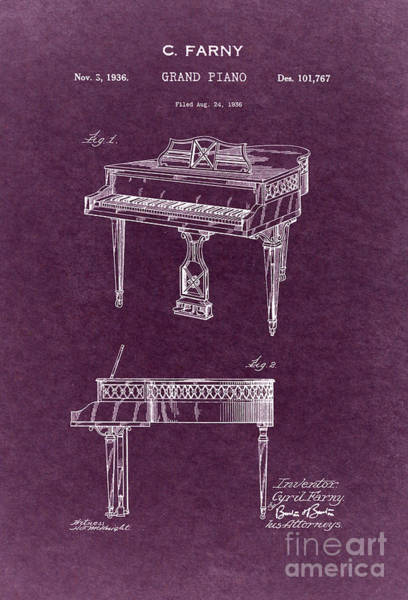 Grand Piano Digital Art - Grand Piano Patent Art 1936 4 by Nishanth Gopinathan