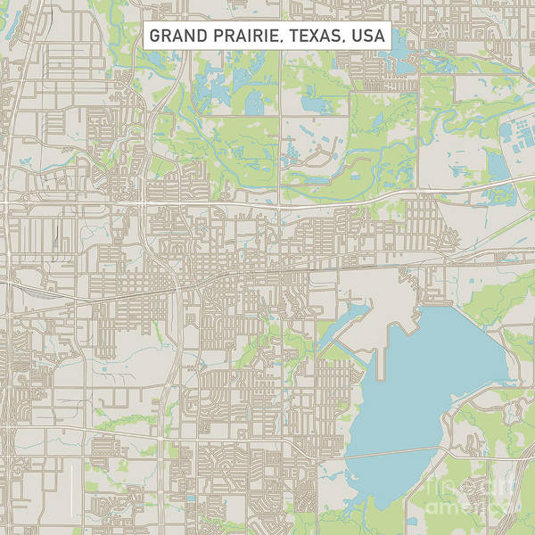 Prairie View Digital Art - Grand Prairie Texas Us City Street Map by Frank Ramspott