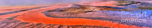 Yellowstone Caldera Photograph - Grand Prismatic Algae Mat Panorama by Adam Jewell