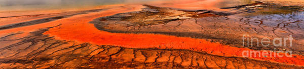 Yellowstone Caldera Photograph - Grand Prismatic Bacterial Mat Panorama by Adam Jewell