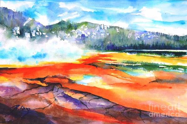 Painting - Grand Prismatic Hot Spring by Betty M M Wong