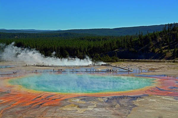 Photograph - Grand Prismatic Spring Landscape by Bruce Gourley
