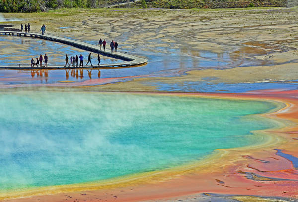 Photograph - Grand Prismatic Spring Reflections by Bruce Gourley