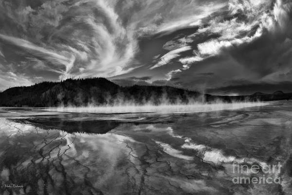 Photograph - Grand Prismatic Spring Black And White by Blake Richards