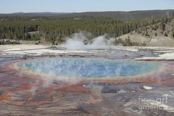 Yellowstone Caldera Photograph - Grand Prismatic Spring, Midway Geyser by Richard Roscoe