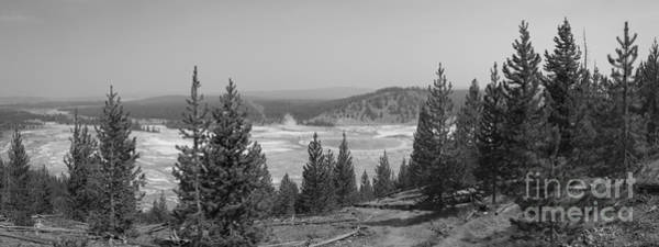 Prismatic Wall Art - Photograph - Grand Prismatic Spring Panorama Bw by Michael Ver Sprill