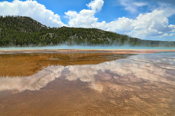 Photograph - Grand Prismatic Spring Reflections by Dan Sproul