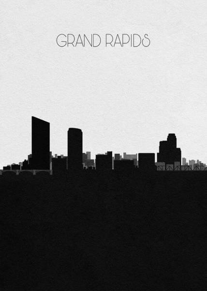 Michigan Drawing - Grand Rapids Cityscape Art by Inspirowl Design