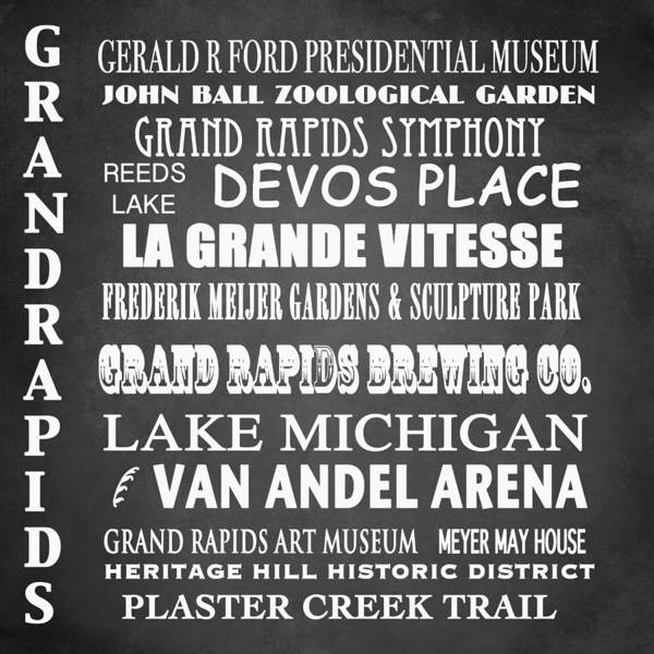 Famous Places Digital Art - Grand Rapids Famous Landmarks by Patricia Lintner