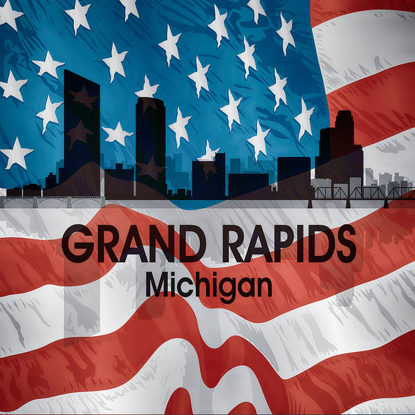 Mi Mixed Media - Grand Rapids Mi American Flag Squared by Angelina Tamez