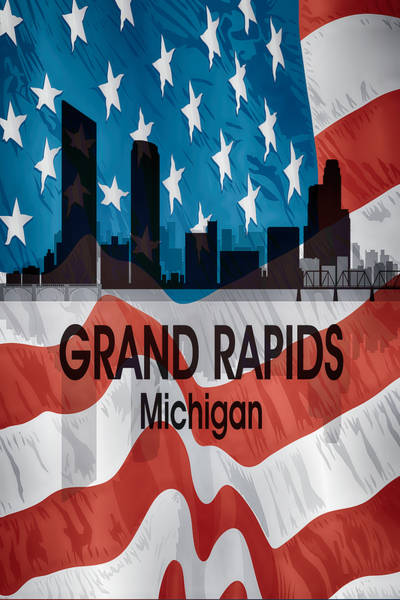 Wall Art - Mixed Media - Grand Rapids Mi American Flag Vertical by Angelina Tamez