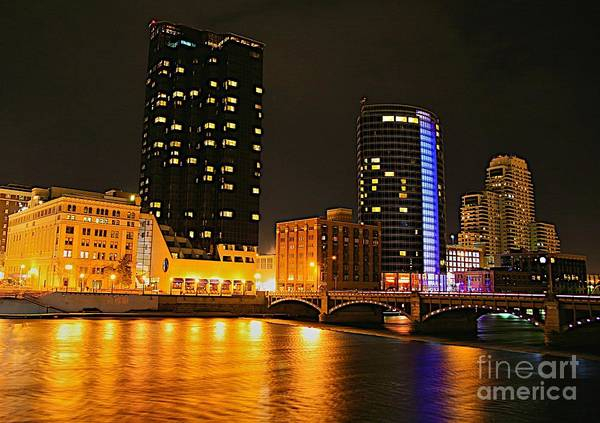 City Scape Photograph - Grand Rapids Mi Under The Lights-2 by Robert Pearson