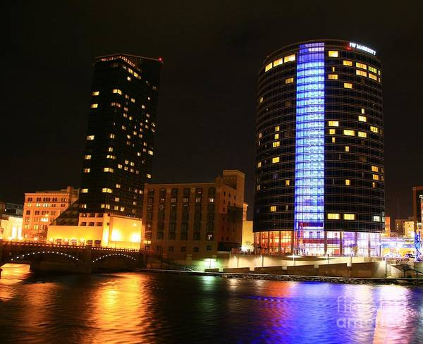 City Scape Photograph - Grand Rapids Mi Under The Lights-4 by Robert Pearson