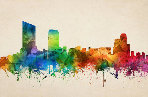 Grand Rapids Painting - Grand Rapids Michigan Skyline 05 by Aged Pixel