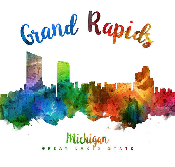 Grand Rapids Painting - Grand Rapids Michigan Skyline 25 by Aged Pixel