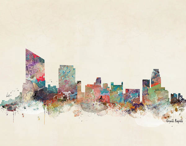 Grand Rapids Painting - Grand Rapids Michigan Skyline by Bri Buckley