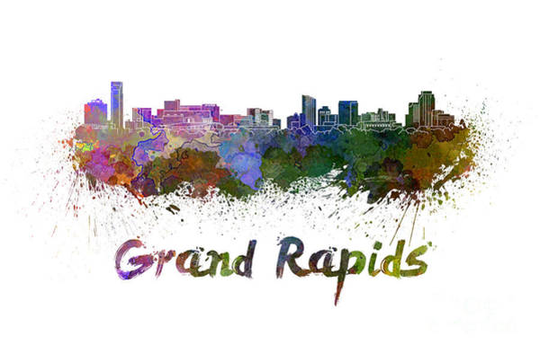 Grand Rapids Painting - Grand Rapids Skyline In Watercolor by Pablo Romero