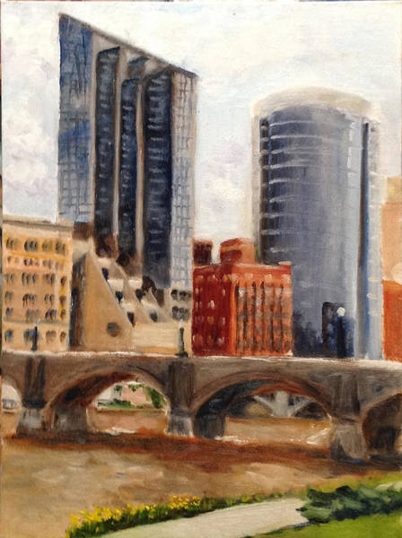 Grand Rapids Painting - Grand Rapids Skyline by Mary Marin