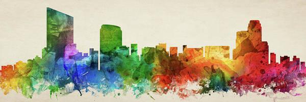 Wall Art - Digital Art - Grand Rapids Skyline Panorama Usmigr-pa03 by Aged Pixel
