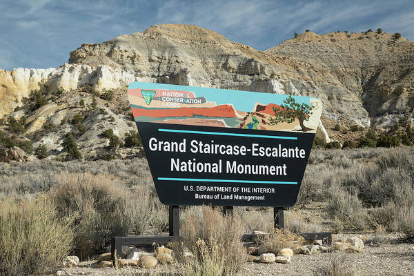 Grand Staircase National Monument Photograph - Grand Staircase Escalante Sign Utah by Steve Gadomski