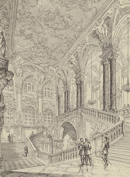 Wall Art - Drawing - Grand Staircase Of The Winter Palace by French School