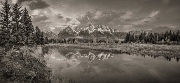 Schwabacher Photograph - Grand Teton Monochromatic Panoramic by Scott McGuire
