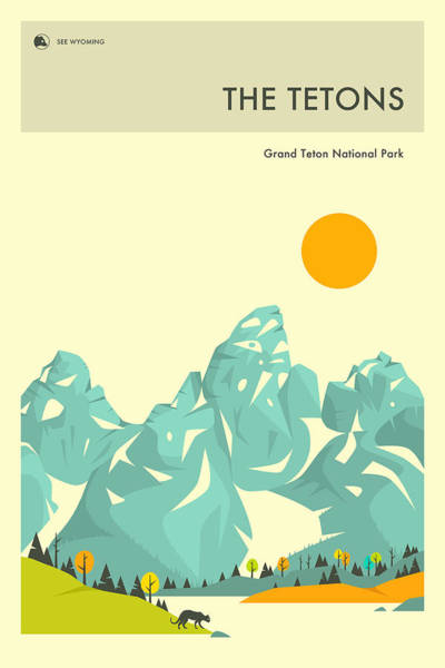National Park Digital Art - The Tetons by Jazzberry Blue